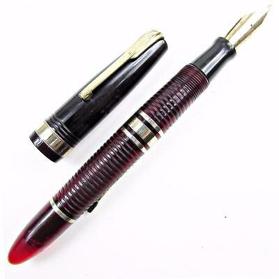 Vintage Waterman DE LUXE Hundred Year Fountain Pen Ribbed Transparent RED Lucite