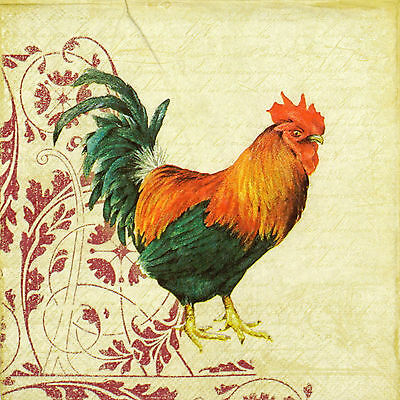 4x Paper Napkins for Decoupage Rooster and Ornament