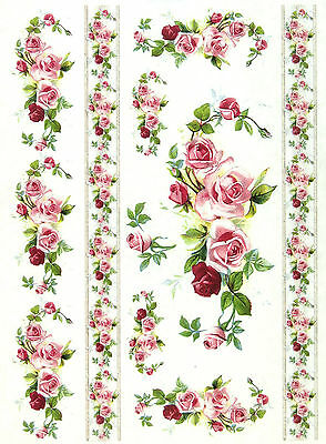 A/4 Soft Decoupage Paper -Roses and Borders- Scrapbook Sheet Vintage