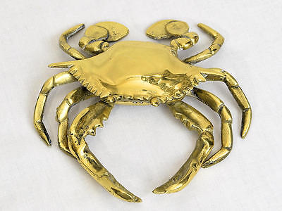 Vintage Brass Crab Ashtray Trinket Box With Hinged Lid 6""