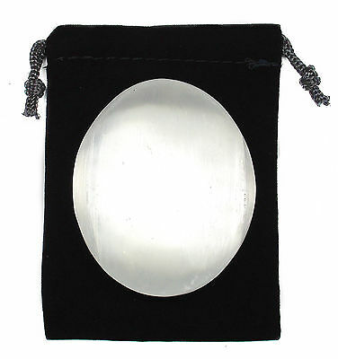 CARVED - SATIN SPAR SELENITE Large Palm Sized Worry Stone Crystal w/Pouch & Card