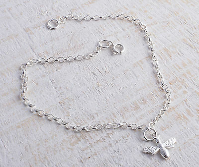 Sterling Silver 925 Bee Ankle Chain Bracelet Anklet
