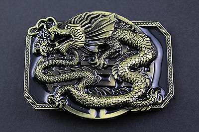 Rectangular Gold Chinese Dragon Belt Buckle Metal Calendar Traditional Fantasy