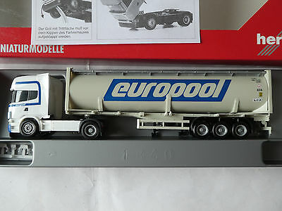 """Herpa 150446 Scania R TL Druckcontainer-SZ  """"Europool""""  M1:87 in OVP (B-25)"""