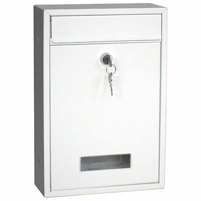 Steel Square Post Box White Large Mail Letter Lockable Keys New By Home Discount