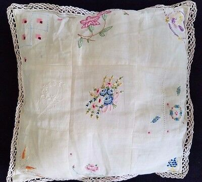 "Vintage Boudoir Embroidered 9 1/2"" Pillow with Chrotcheted Lace Edge"