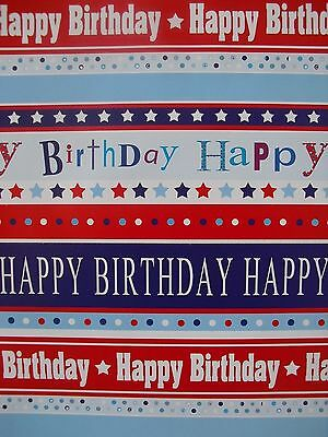 2 Sheets Of Thick Glossy General Male Birthday Wrapping Paper