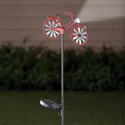 Solar Powered Old-Fashioned Bicycle w/Light Outdoor Garden Wind Spinner
