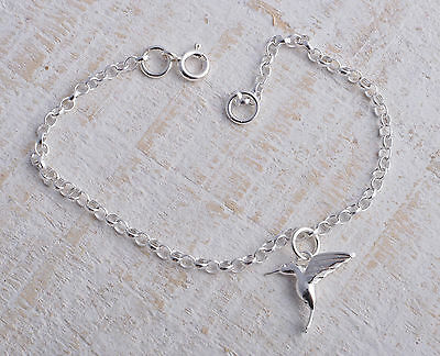 Sterling Silver 925 Hummingbird Humming Bird Ankle Chain Bracelet Anklet