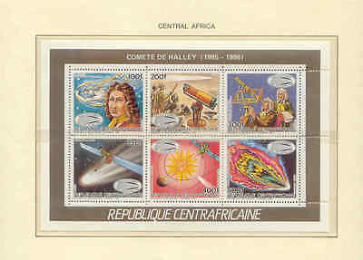 CENTRAL AFRICA  1986  MNH  SC=779-784   HALLEY'S  COMET     PERF.  MiniSeet