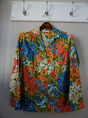 Eddy's Colorful Country Floral Long Sleeve Button Down Vintage Shirt Size M