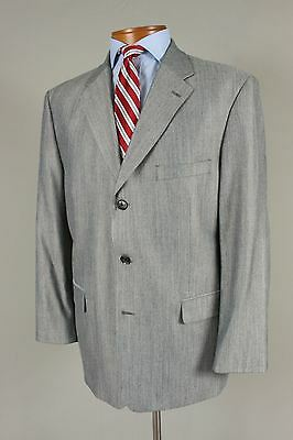 Stafford 44R Men Silver Gray Herringbone Wool Blend Blazer Sport Coat Jacket 618