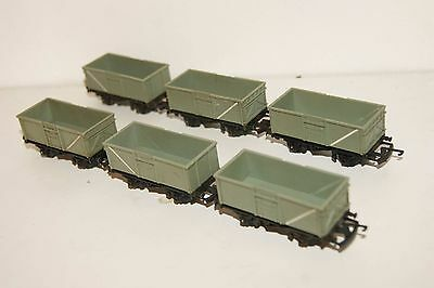 TT gauge 3mm GOOD USED 6x Triang Wagon BR Grey Mineral Open Wagon