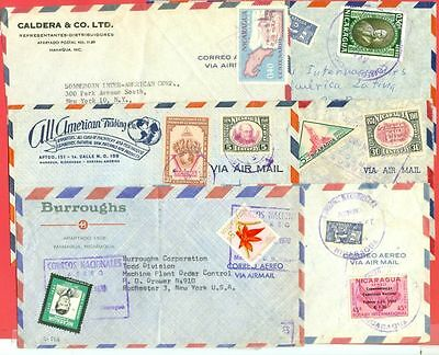 Nicaragua 6 diff Commercial cover to USA Lot#1522