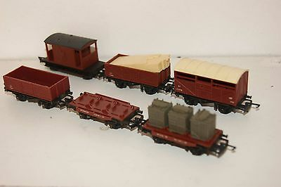 TT gauge 3mm GOOD/EXCELLENT 6x Triang Wagon BR Brown Cattle Van Open Flask Brake