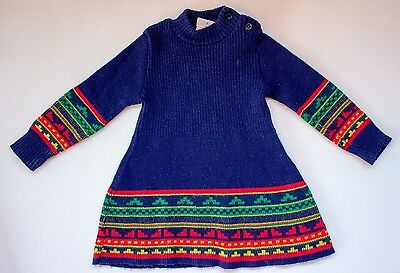 VINTAGE ABSORBA Toddler Child GIRLS Sweater DRESS Blue Red Green MADE IN FRANCE
