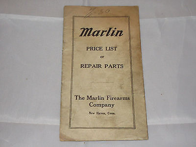 Vtg Marlin Firearms Company Price List Of Repair Parts Booklet