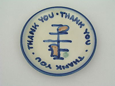 "M. A. Hadley Pottery - 4 1/4"" Trinket Dish / Coaster - Thank You Thank You"