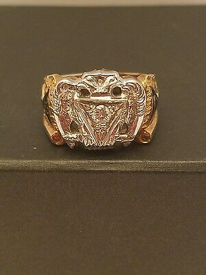 Scottish Rite 32nd Degree Diamond Ring - 10k Yellow & White Gold Masonic Men's