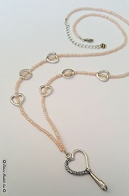 Silver Hearts & Pink ID Badge Holder HANDMADE Beaded Lanyard Fashion Necklace