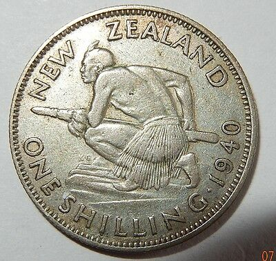 New Zealand One Shilling 1940 VF
