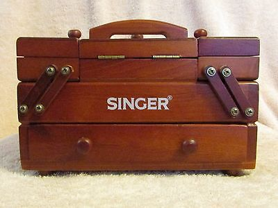 Vintage Singer wood sewing notion tool box accordion fold out hinged drawer mini