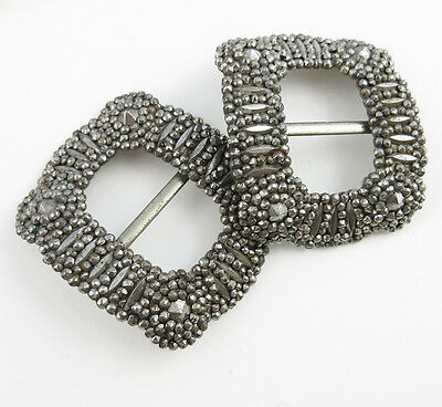 Pair of Antique Hand Riveted Cut Steel Shoe Buckles  -- Clips