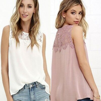 casual donna canotta estate larga Chiffon senza maniche t-shirt top camicetta