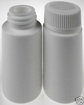 Plastic Vials/Bottles w/White Lids, 6-mL/6 cc, 100-Pack, New