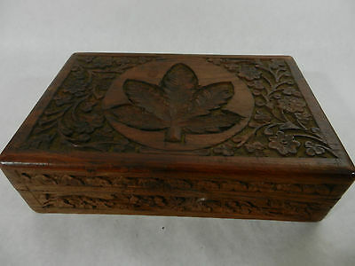 Beautiful Vintage Carved Wooden Storage Box