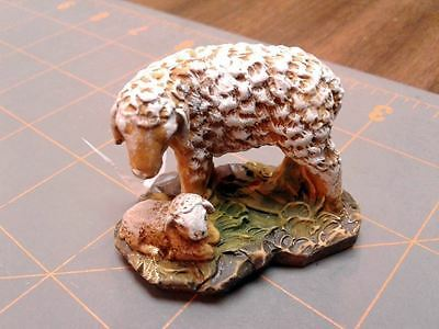 Vintage Mother Sheep with New Born Lamb Figurine Miniature Rich Patina
