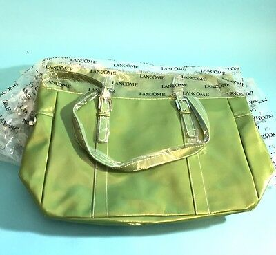 4x lot  Green Lancome Large Purse , travel carry on Shopper Tote Bag beach