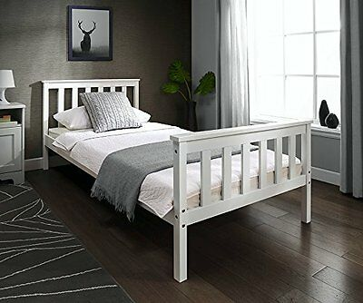 Single wooden bed frame in White 3ft