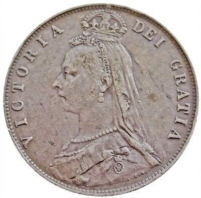 1892 Silver Great Britain 1/2 Crown Queen Victoria Coin Extremely Fine