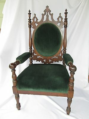 American Gothic Revival Walnut High Back Arm Chair