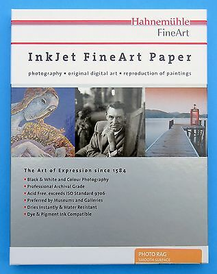 HAHNEMUHLE Fine Art PAPER Photo Rag Smooth 188gsm 8.5 x 11 Gallery Archival