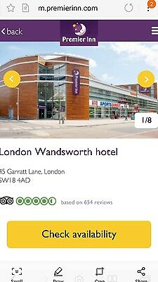 Premier Inn hotel Wandsworth for Wimbledon tennis championship 2nd July 1 night