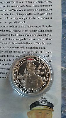 History of the royal Navy SILVER PROOF £5 coin(Jersey) 2005-Andrew Cunningham