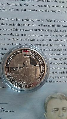 History of the royal Navy SILVER PROOF £5 coin(Jersey) 2004-John Fisher