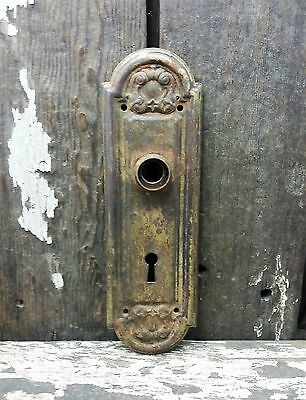 VTG Antique Old Fancy Metal SHABBY Keyhole Door Knob Backplate Cover Plate /