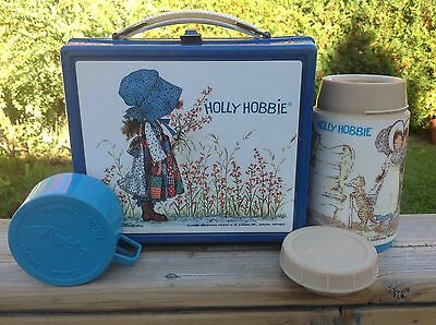 Vtg 1979 HOLLY HOBBIE Blue Plastic Lunchbox w/ complete Thermos - RARE SET!