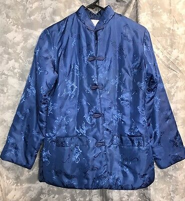 Vintage Asian Womens Jacket Coat Blue Size Medium Chinese? FFCO Fortunes Fashion