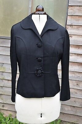 Original 40s or 50s smart black jacket with flower button - 12/14/16