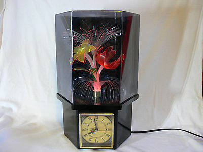 Vintage Rotating  OPTIC FIBRE FLOWER LAMP with Clock in Hexagonal Case RETRO 70s
