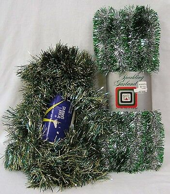 Vintage Christmas LOT Two 1970s Brite Star Tinsel Garland in Original Packages