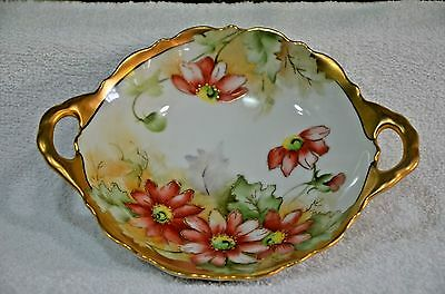 Stunning Limoges ? Hand Painted Red Currants Bowl Vase (053)