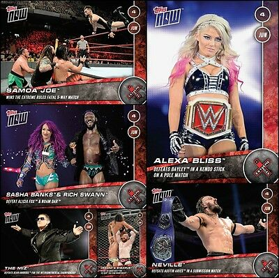 Topps SLAM WWE Extreme Rules PPV TOPPS NOW [6 CARD SET] Bliss/Miz/Sasha/Joe++