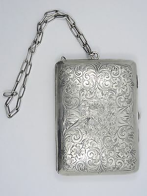 ANTIQUE LADIES STERLING SILVER PURSE CIGARETTE CASE CHANGE HOLDER COMPACT 115g