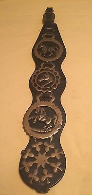 Vintage Black Leather Wall Hanging Horse Strap With Four Brass Medallions