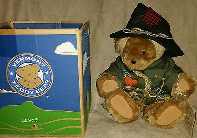 """Vintage Vermont Teddy Bear Dressed As Scarecrow  with Hat 14"""" Original Box"""